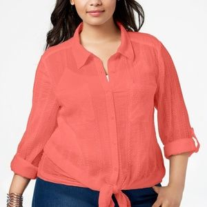 Style & Co Plus Size Sheer Tanned Sleeves Shirt 3X
